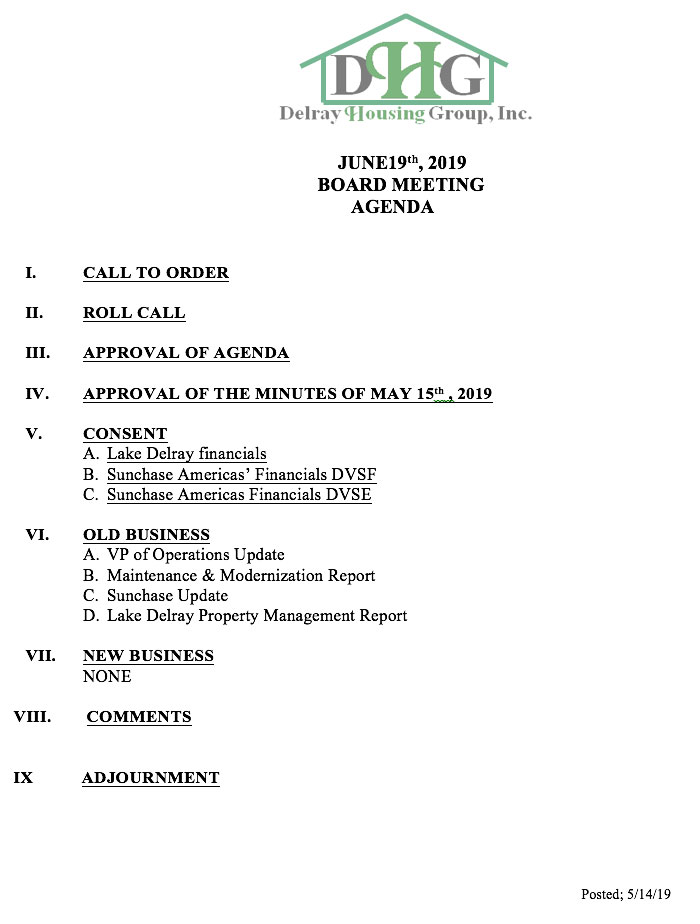 Agenda - Regular Board Meeting Jun 19th, 2019