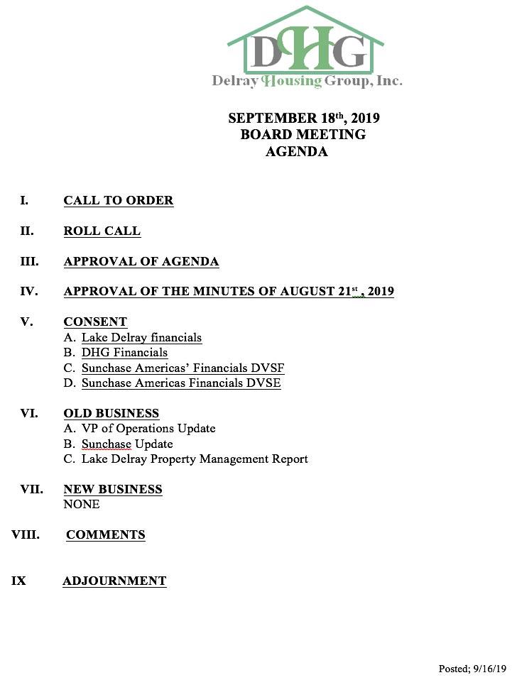 Agenda - Regular Board Meeting Sep 18th, 2019